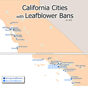 CA cities with leaf blower bans